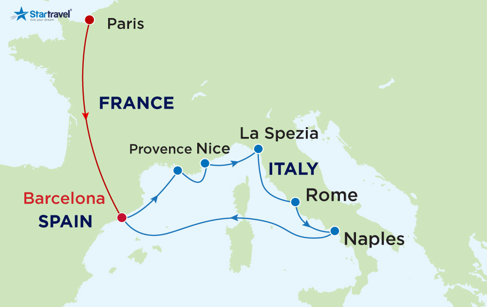 Du Lich Hè  Châu Âu - Khám phá Tây Ban Nha - Pháp - Ý cùng du thuyền 5 sao
