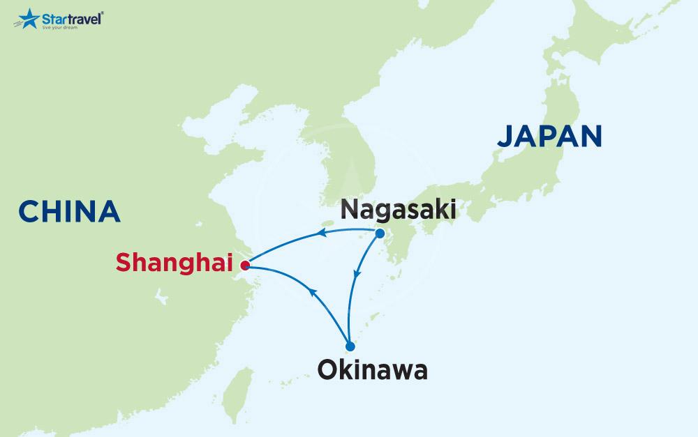 Khám phá hải trình Thượng Hải - Okinawa - Kagoshima