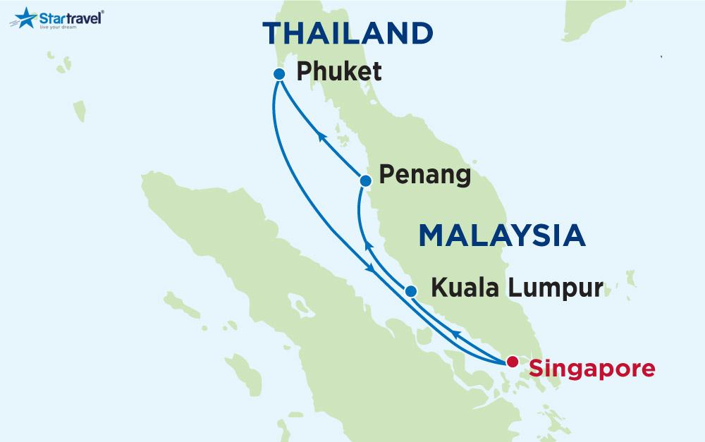 Du thuyền 5 sao khám phá Singapore - Malaysia - Thái Lan