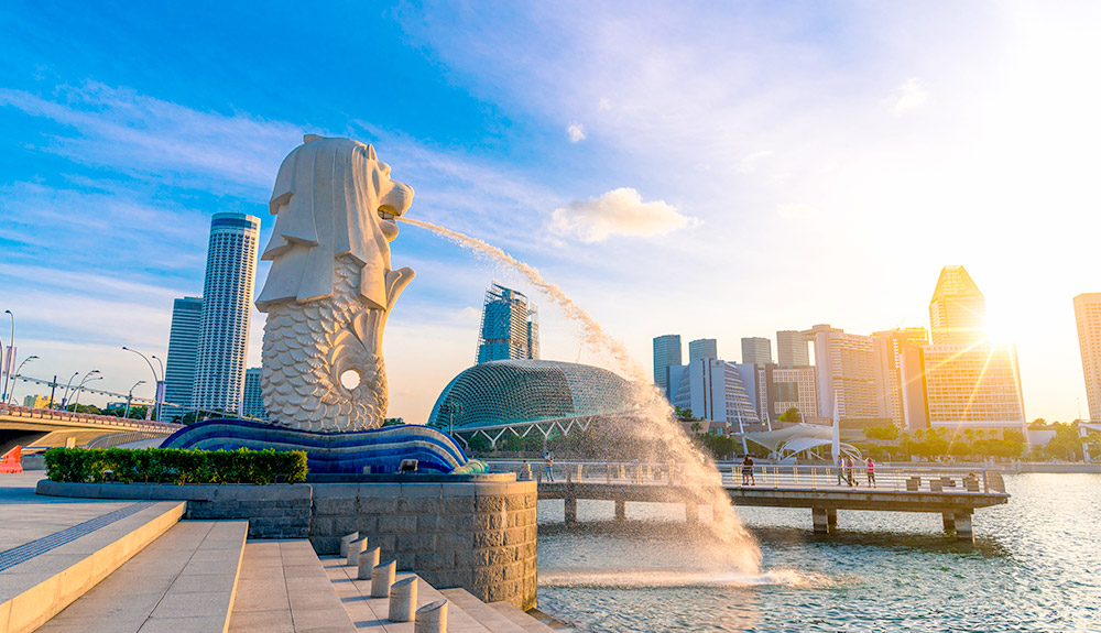 du thuyền biển sư tử biển merlion singapore